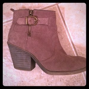 Women's taupe suede booties